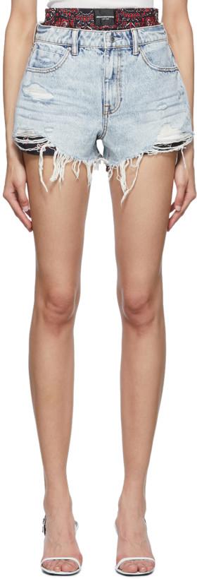 Alexander Wang Blue Denim & Silk Bite Mix Shorts