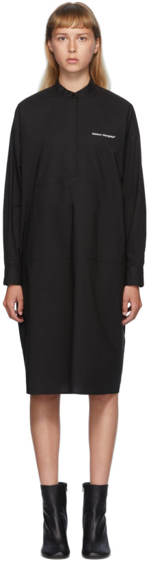 MM6 Maison Margiela Black Poplin Pocket Dress