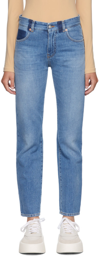 MM6 Maison Margiela Blue Straight-Leg Jeans