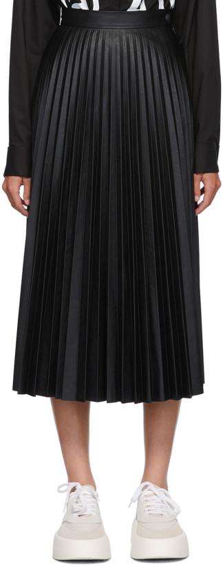 MM6 Maison Margiela Black Coated Pleated Skirt