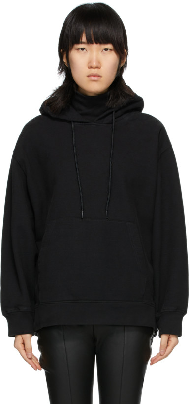 alexanderwang.t Black Soft Fleece Turtleneck Hoodie