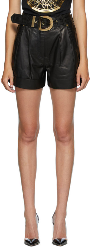 Balmain Black Leather High Waist Belted Shorts
