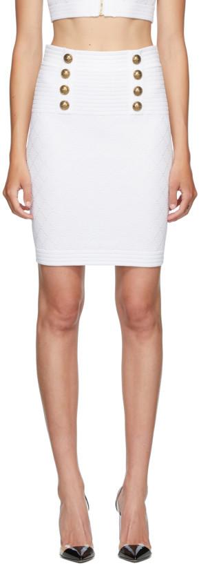 Balmain White Diamond Knit 6-Button Skirt