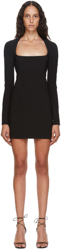 Mugler Black Tech Scuba Mini Dress