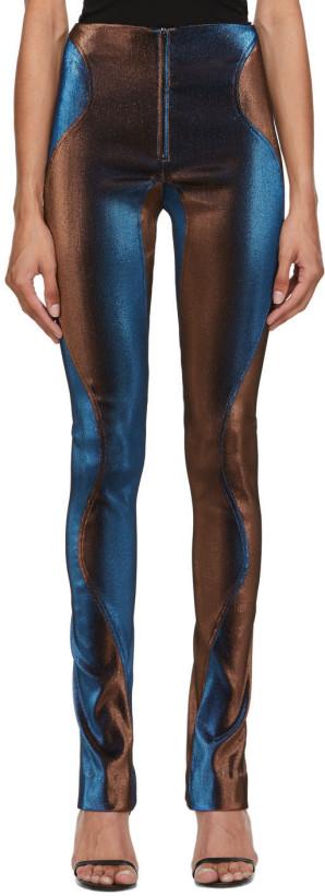 Mugler Blue & Brown Stretch High-Waist Trousers