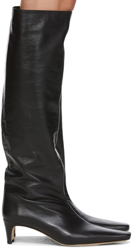 Staud Black Leather Wally Boots