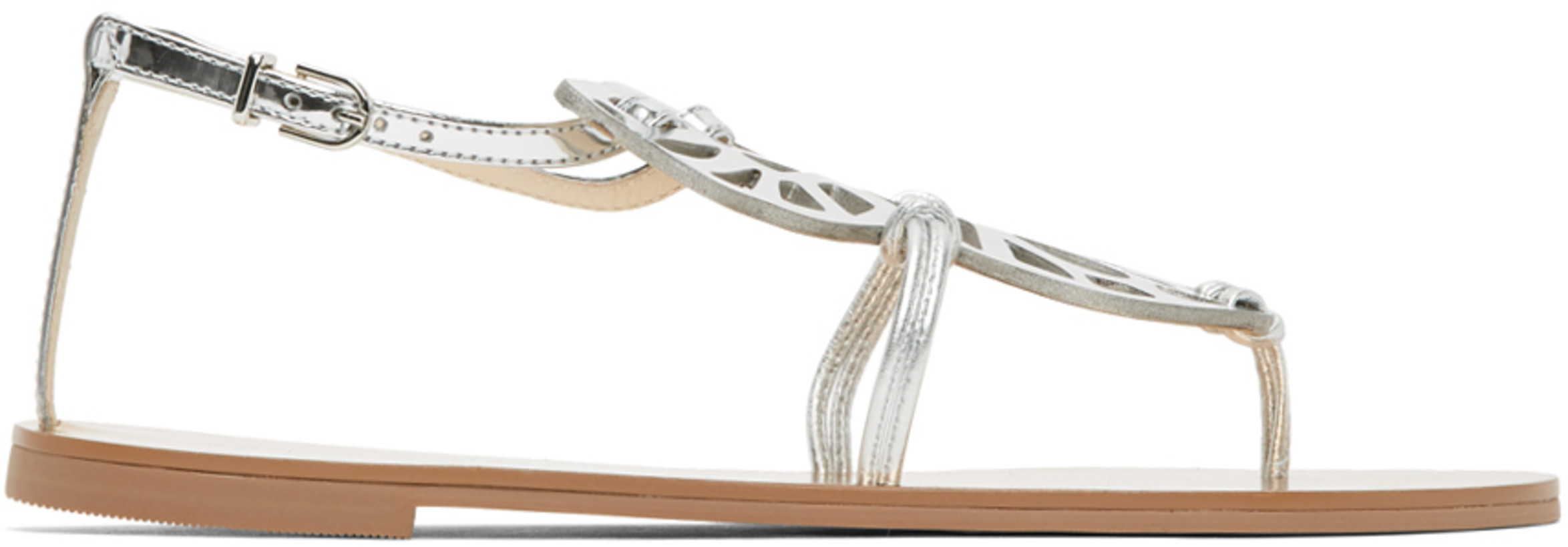 Sophia Webster Silver Patent Butterfly Flat Sandals