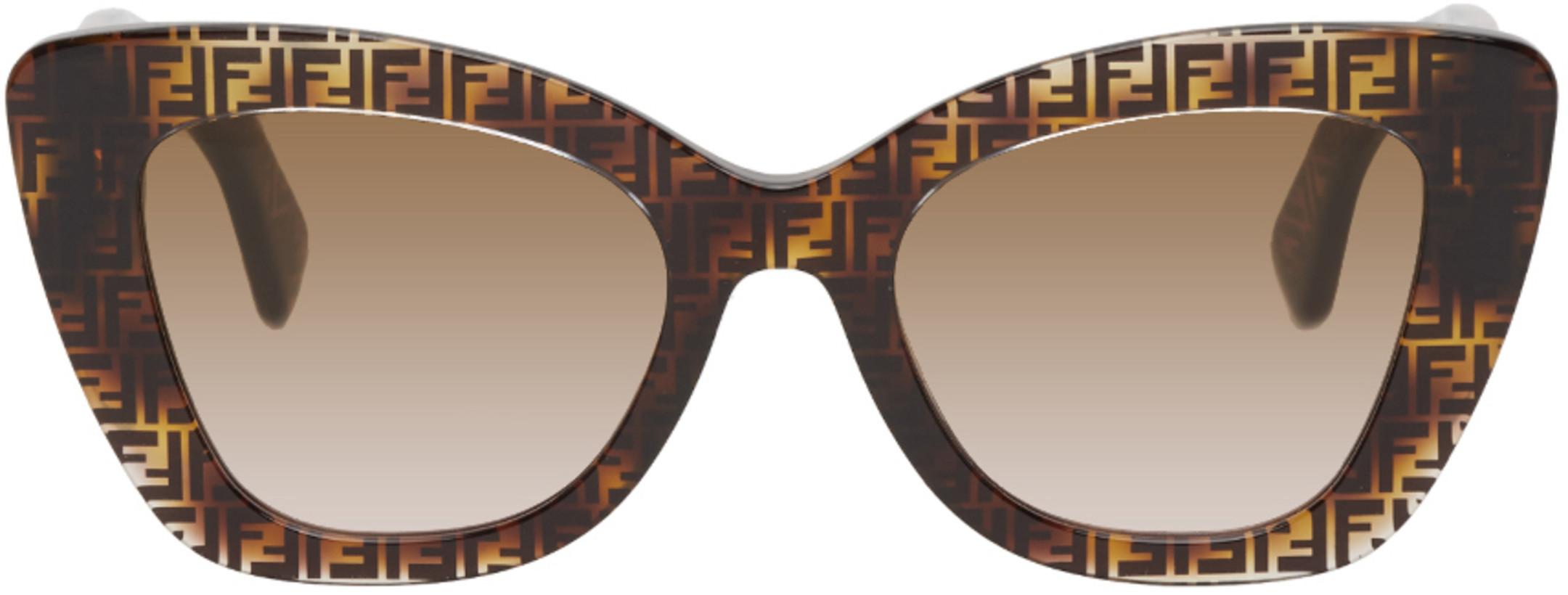 Fendi Tortoiseshell 'F Is Fendi' Cat-Eye Sunglasses