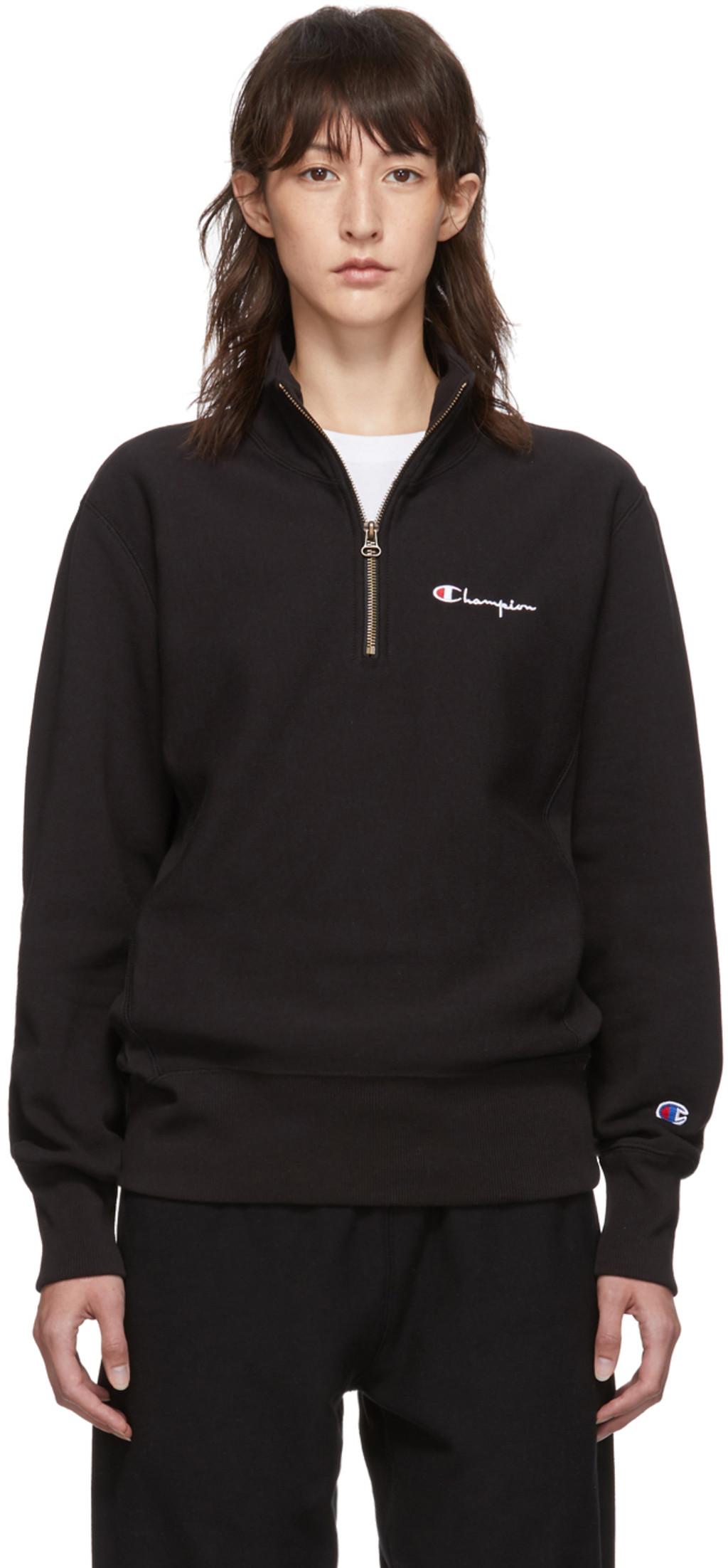 Script Sweatshirt Zip Half Small Black 2YWEIDH9