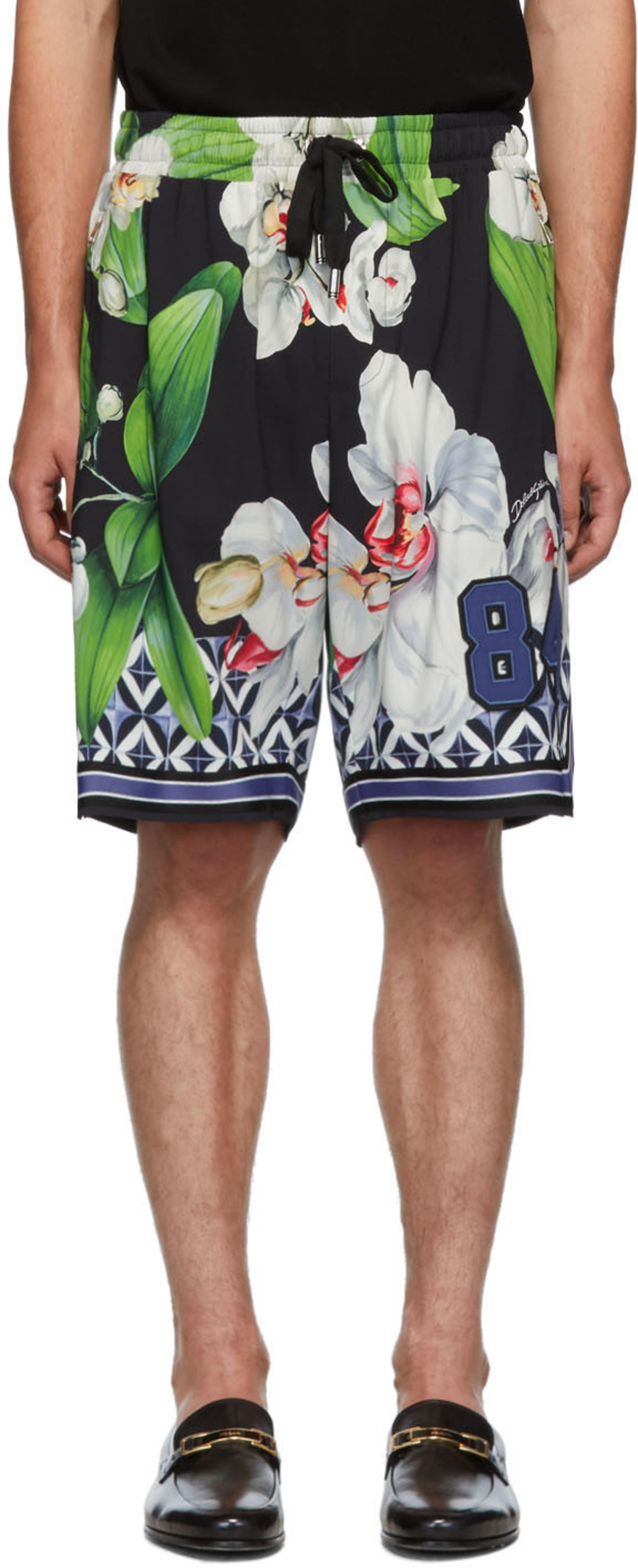 estampado Shorts de negras con orquídeas 1FJcKl