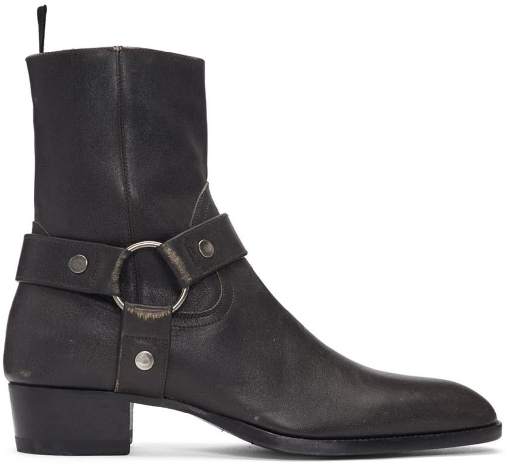 93fe47173f Grey Stone-Washed Wyatt Harness Boots
