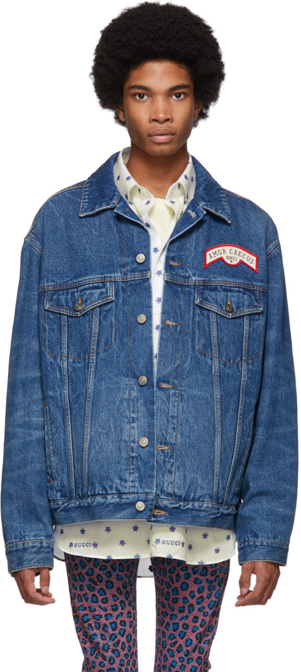 aa7944152 Blue Denim Patches Oversized Jacket