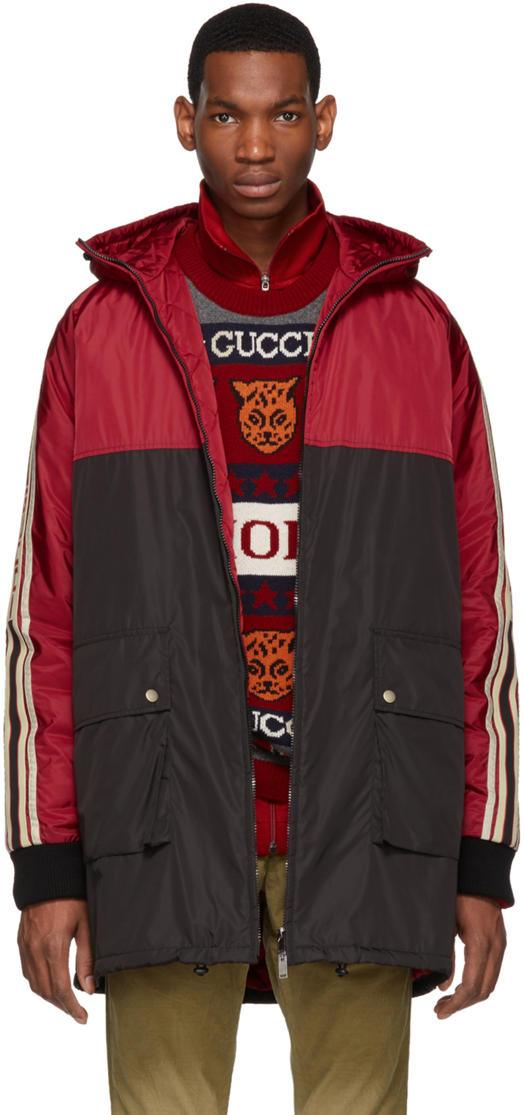 8da8c439a Red & Black Nylon Logo Stripe Coat