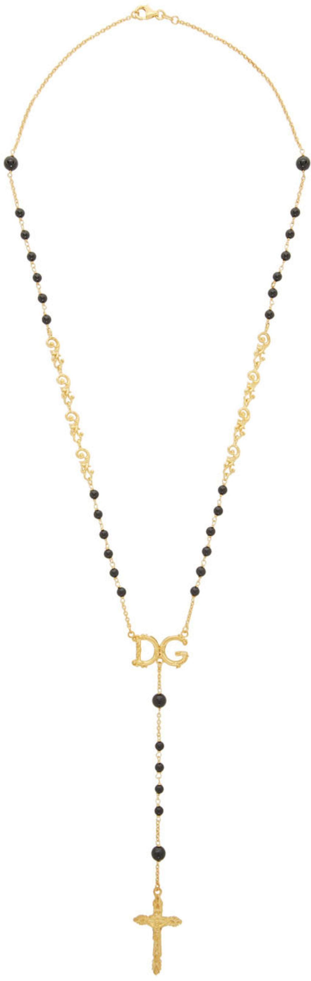 af8f222aea1a0 Black DG Rosary Necklace