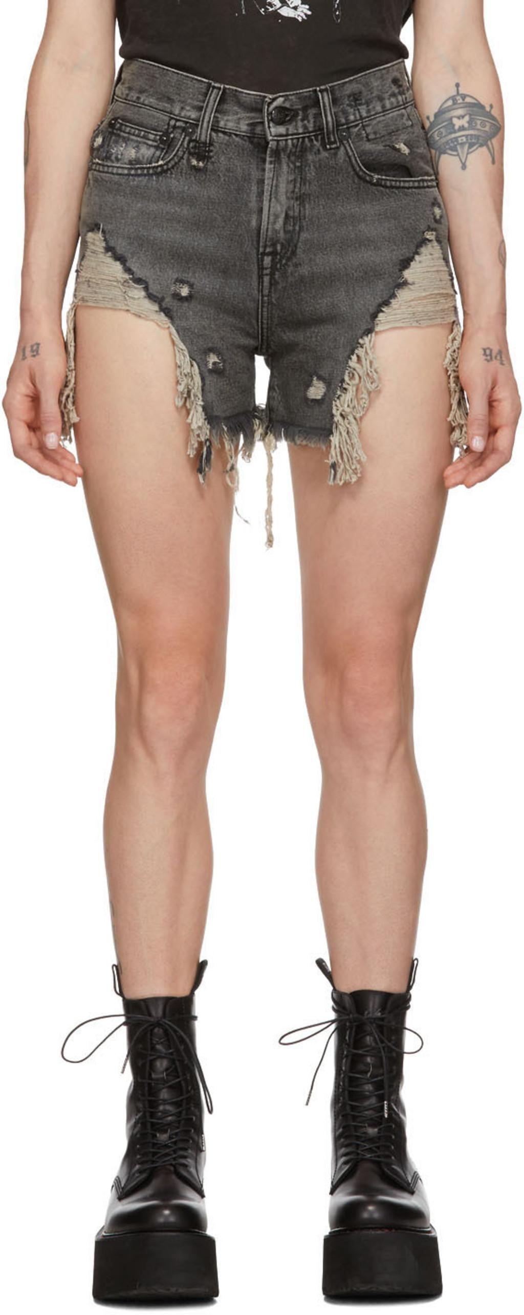 a92cffd7 Black Shredded Slouch Shorts