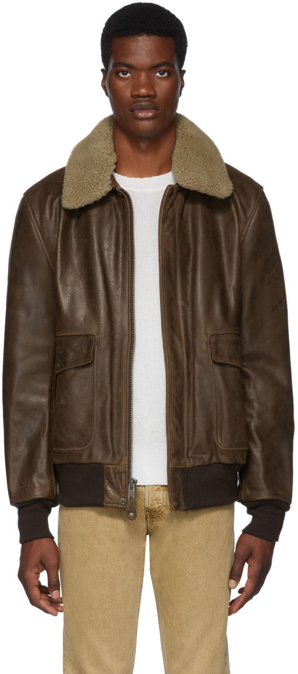 cd5806ce9 Brown Cowhide Bomber Jacket