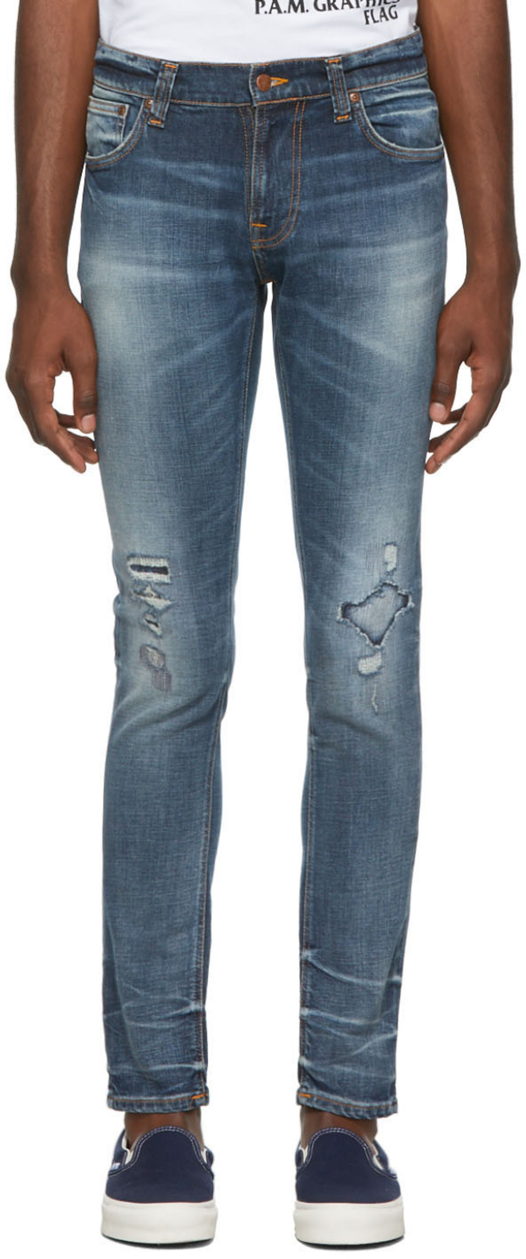 79d211d9 Blue Worn Repaired Tight Terry Jeans