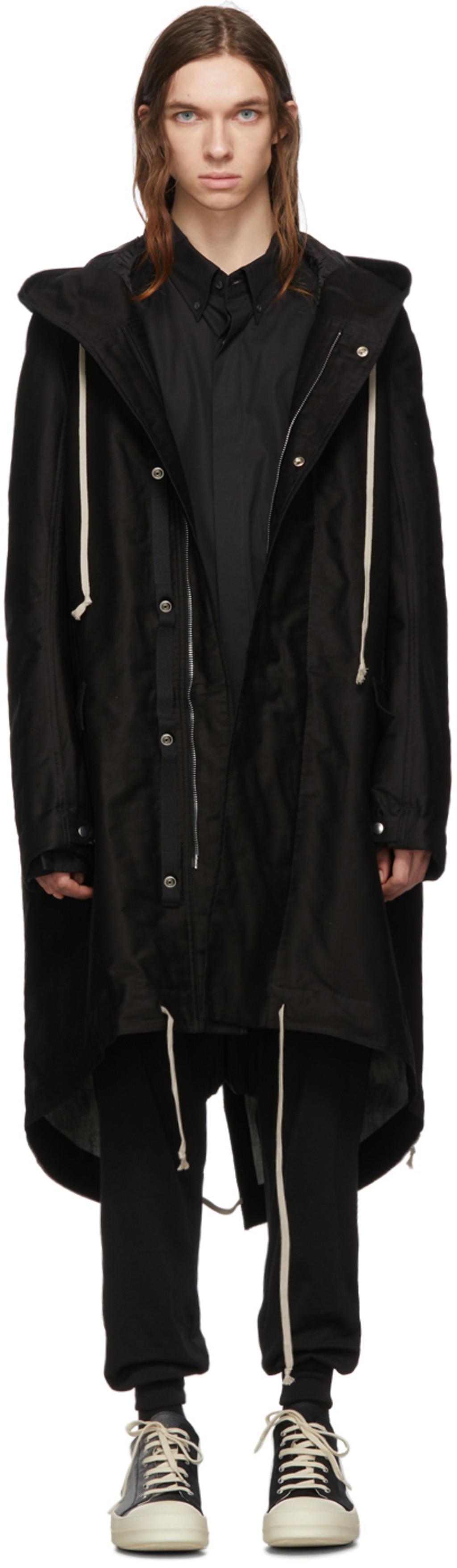 Black & Silver Fishtail Parka Coat