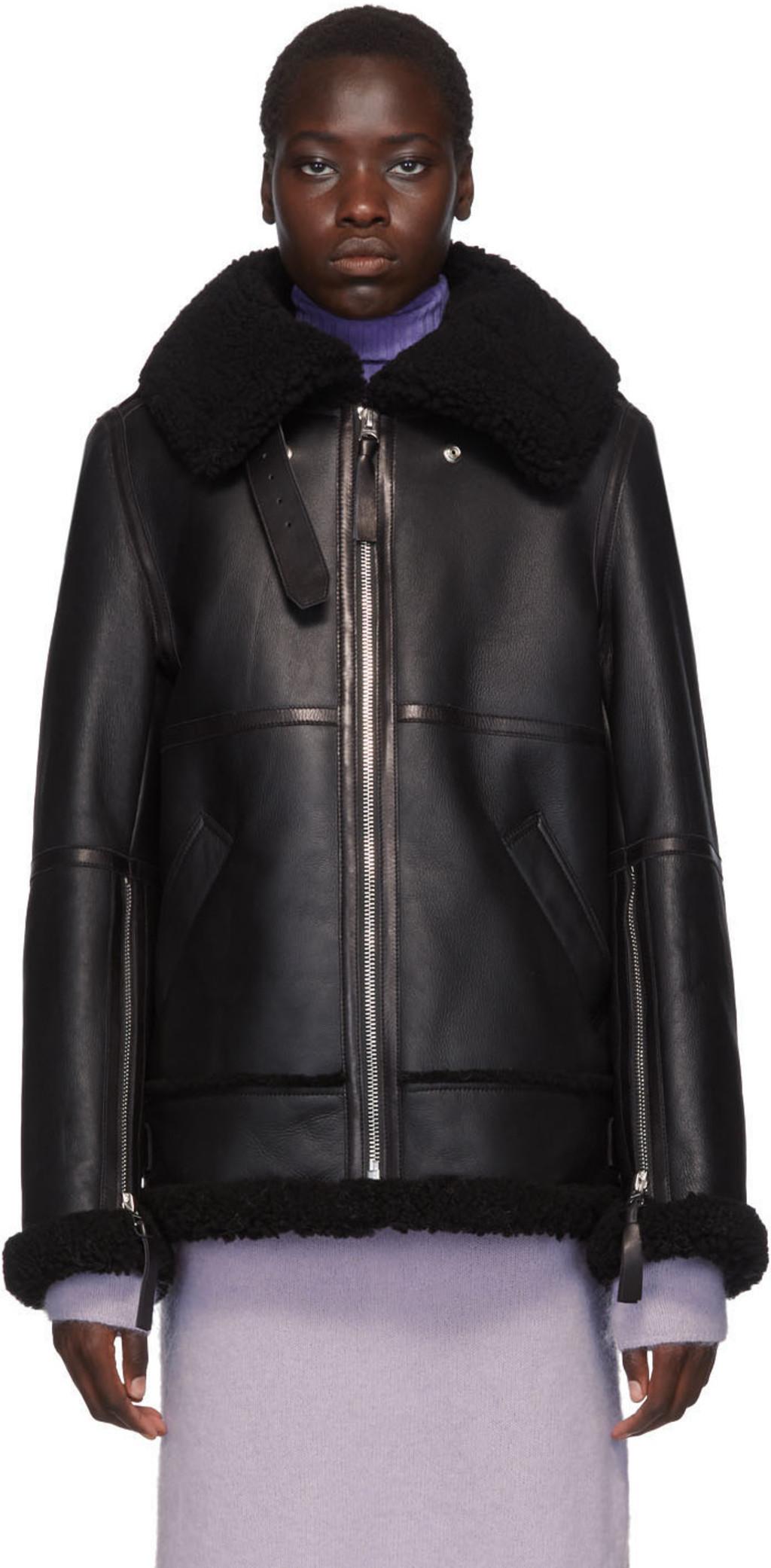 910bb01e5 Black Long Raf Shearling Jacket