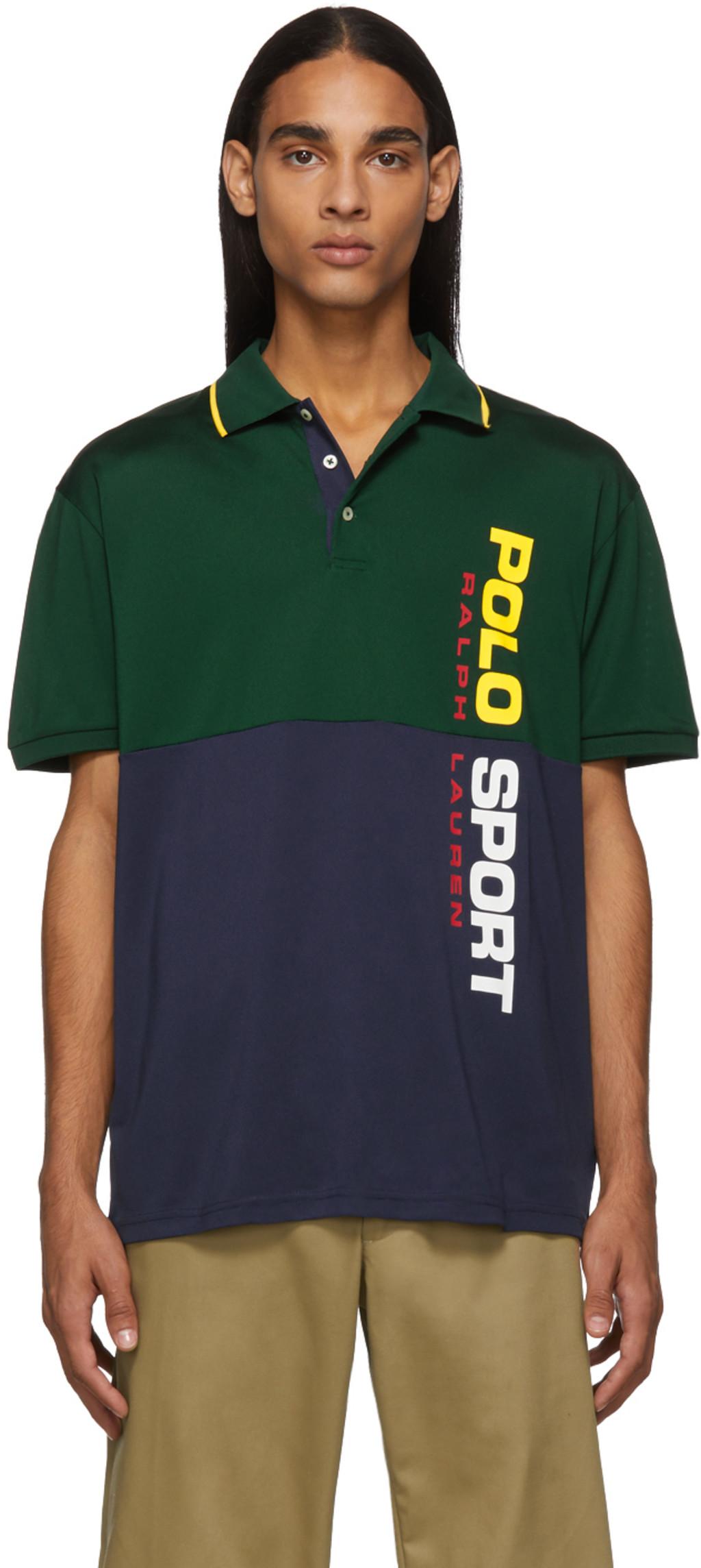 Green & Navy Stretch Mesh Polo