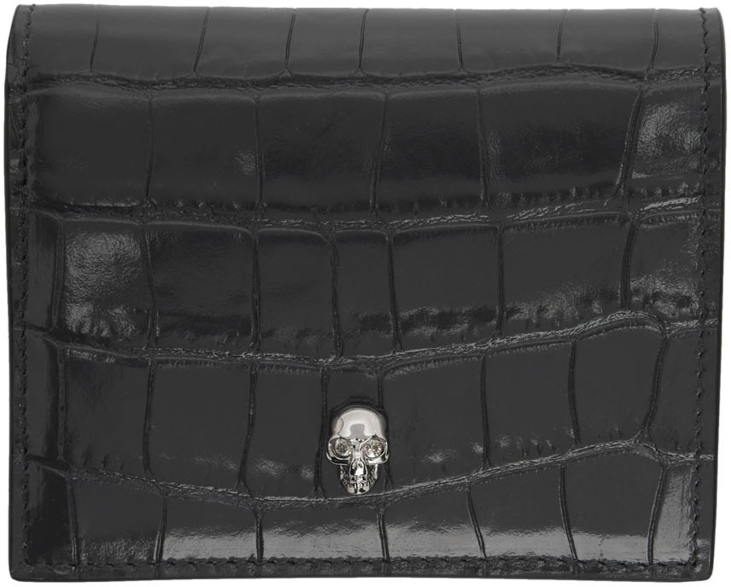 b9271ee3 Grey Croc Folded Skull Wallet