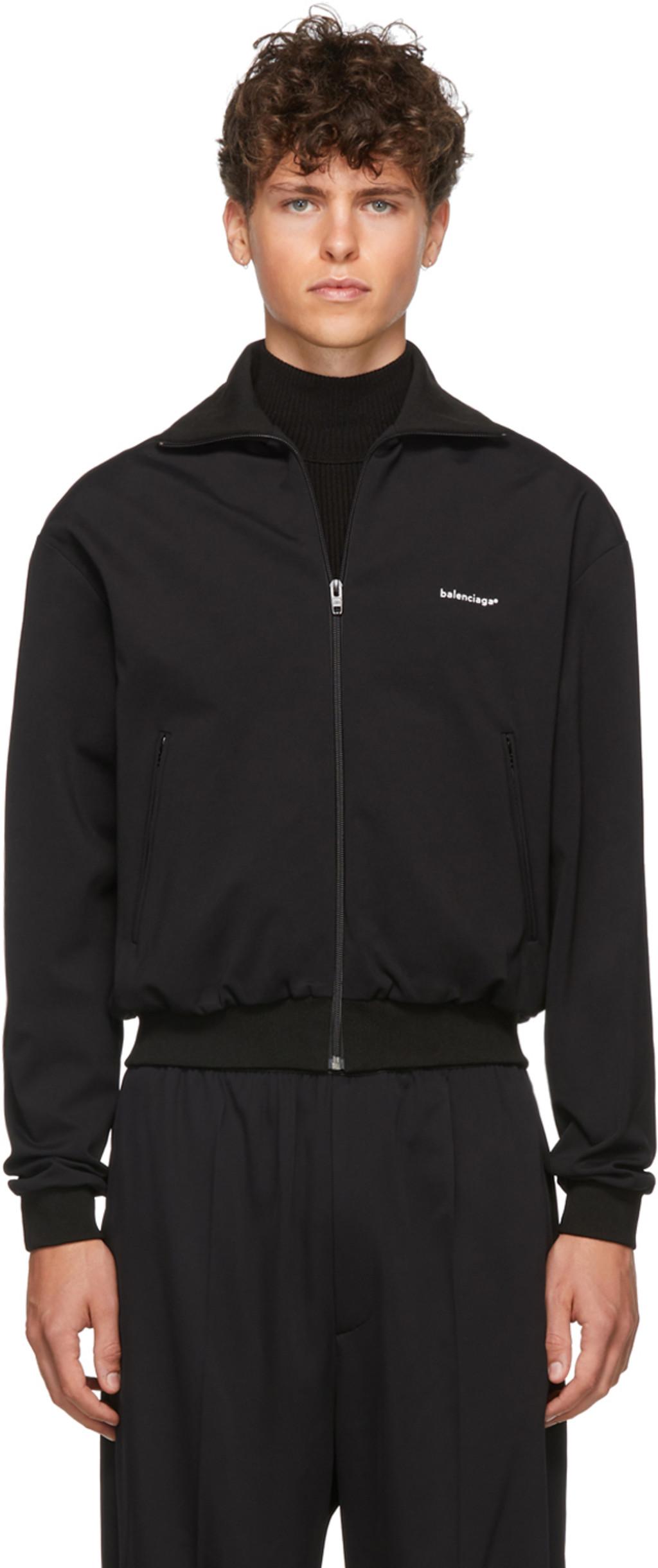 755f076d44069 Black Crepe Jersey Zip-Up Jacket