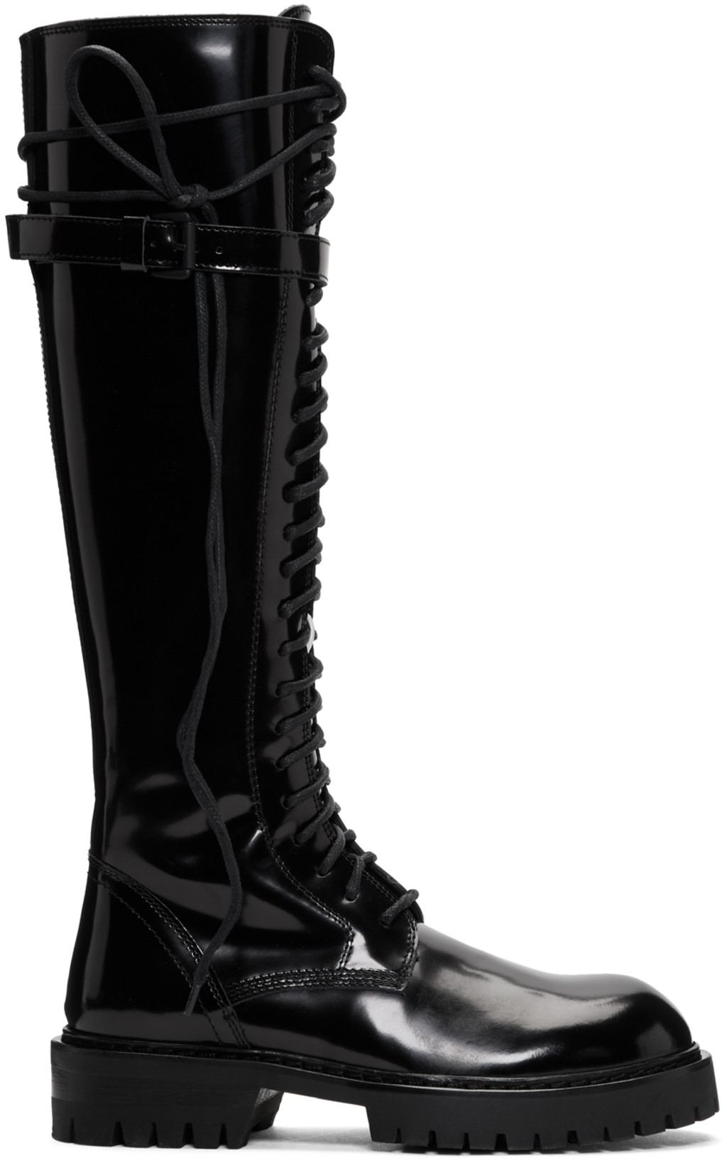 44f059962ed Black Patent Lace-Up Knee-High Boots