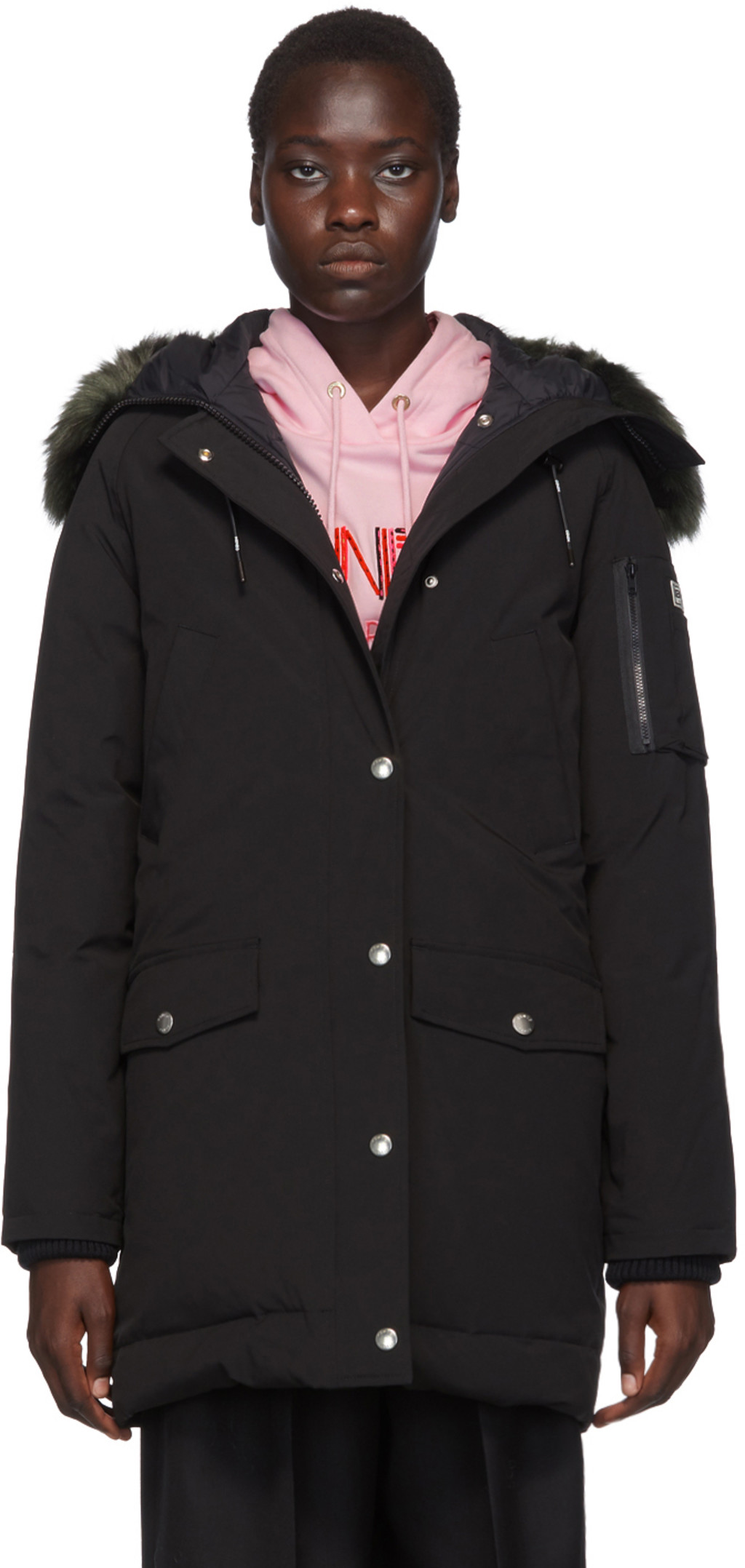 b98a036d63 Black Down Long Faux-Fur Hooded Jacket