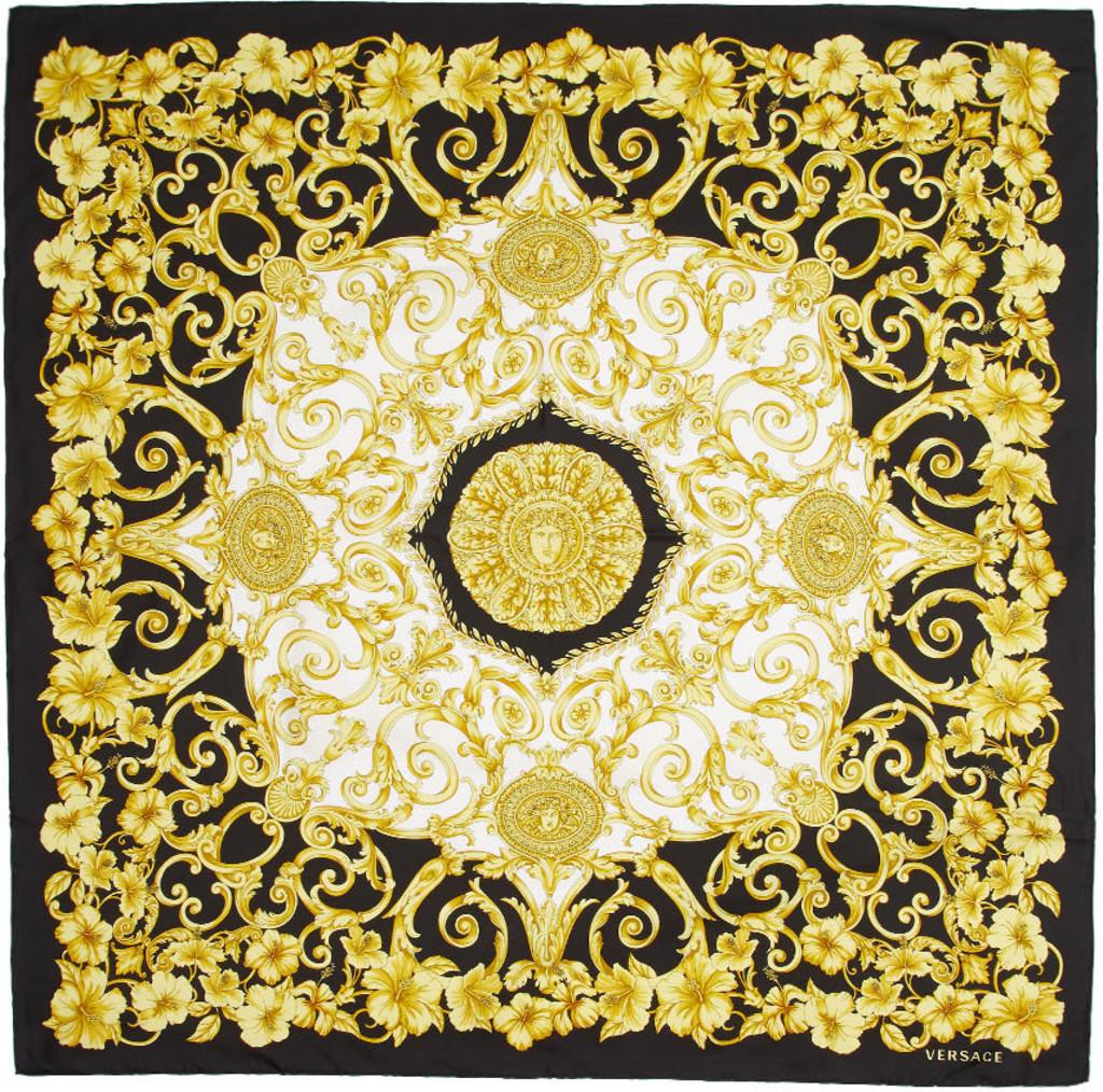 c82630d9 Black & Gold Hibiscus Scarf