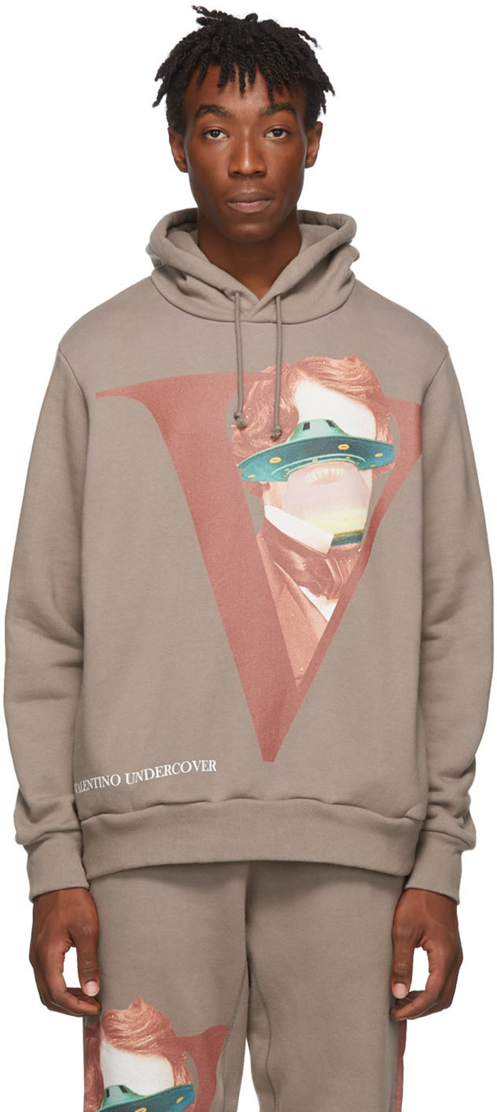 7c1edd7f26 Grey Valentino Edition V Face UFO Print Hoodie