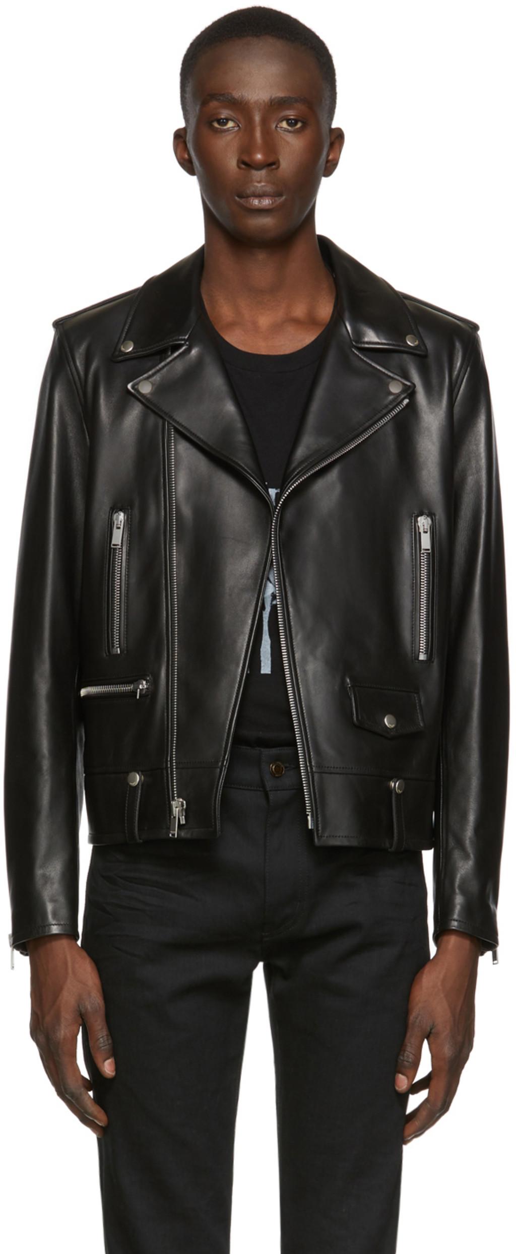 3e3a38a3e8 Black Leather Classic Motorcycle Jacket