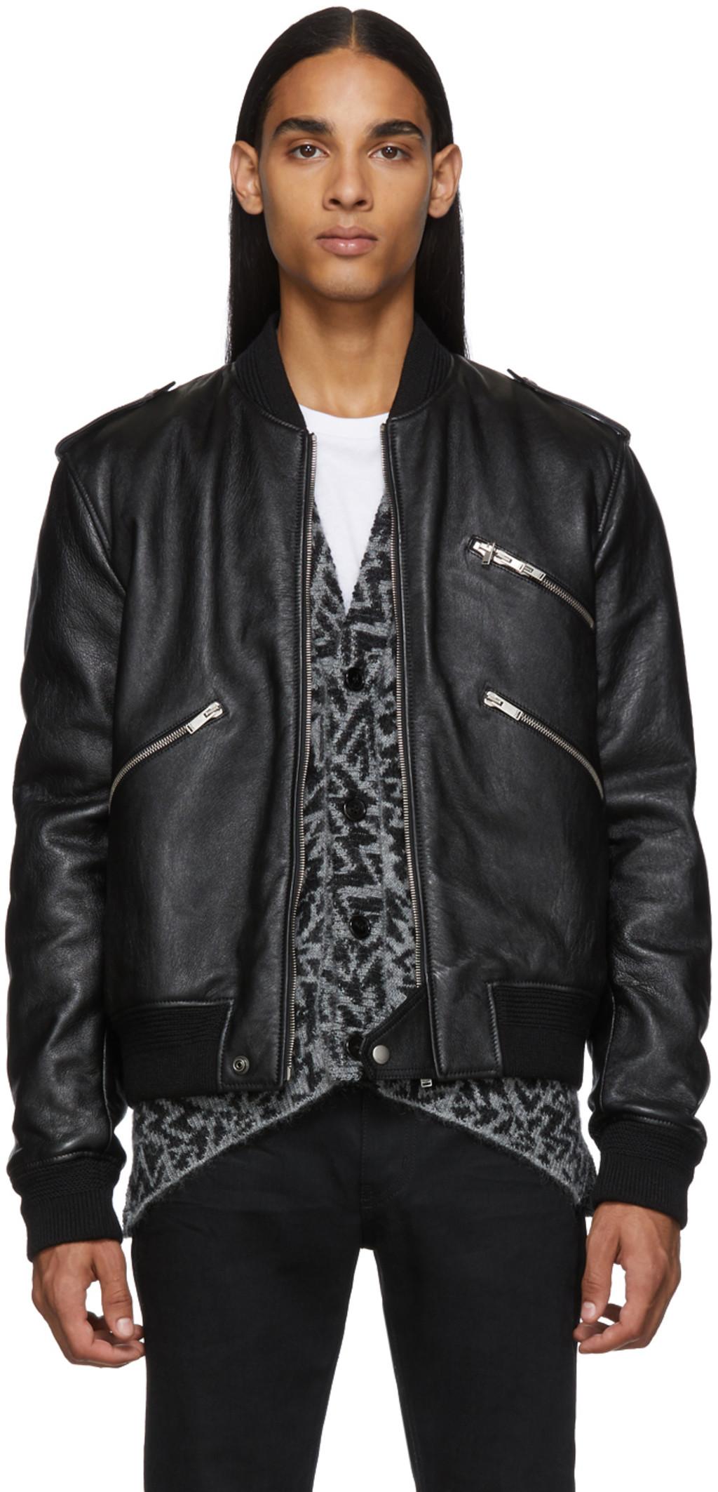 a99666a0c Black Leather Bomber Jacket
