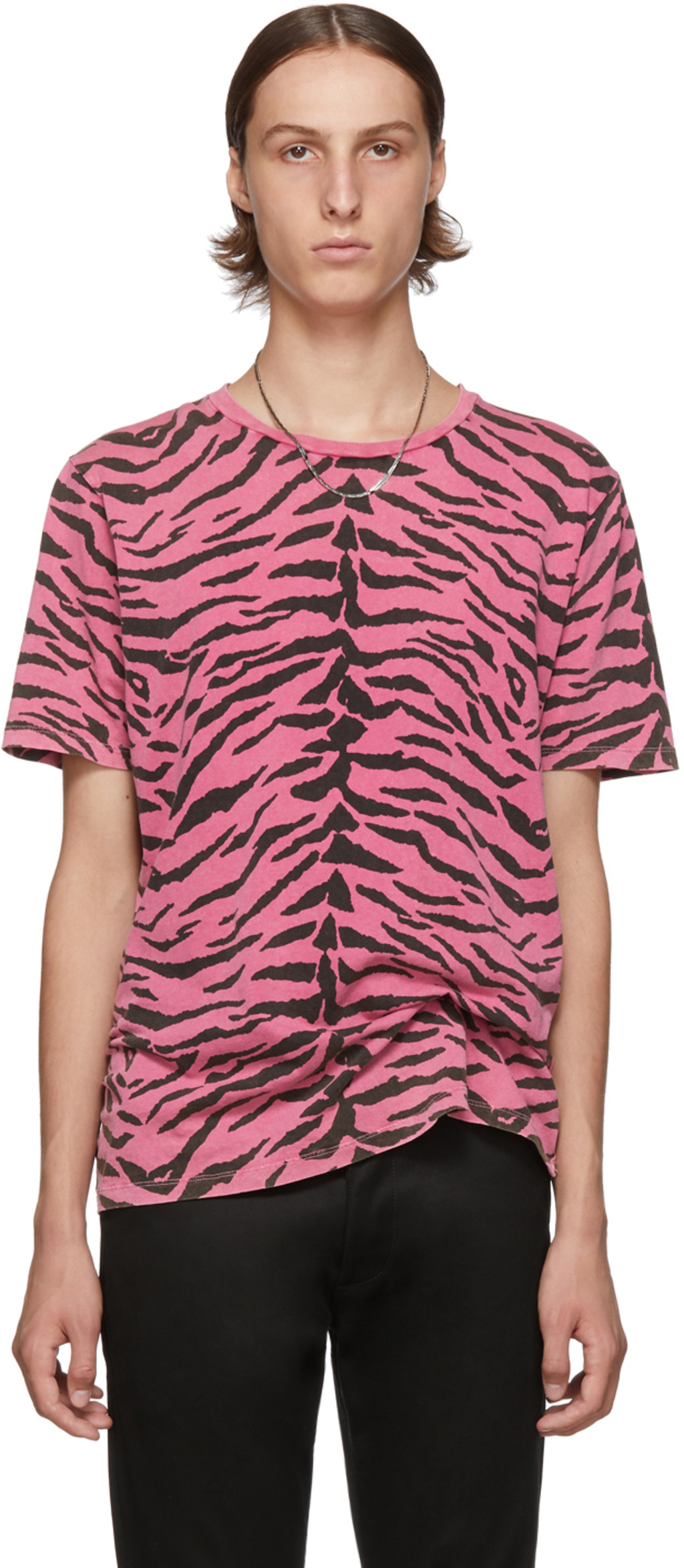 131222a565 Pink & Black Used-Look Zebra T-Shirt