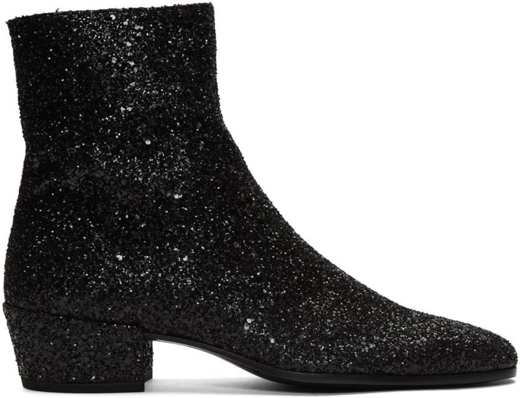 633119b935e Black Glitter Caleb Zippered Boots