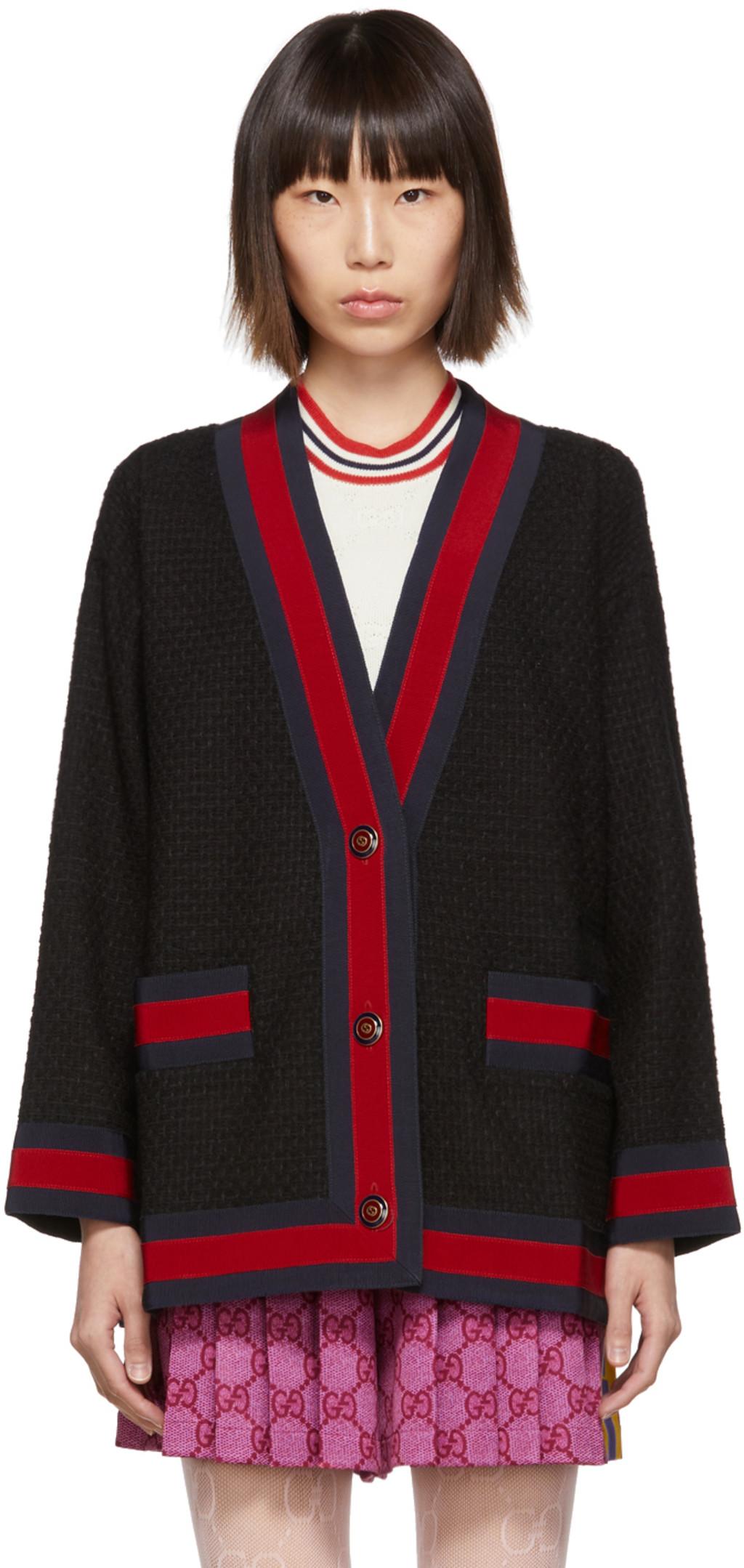 9255e323 Black Tweed Cardigan