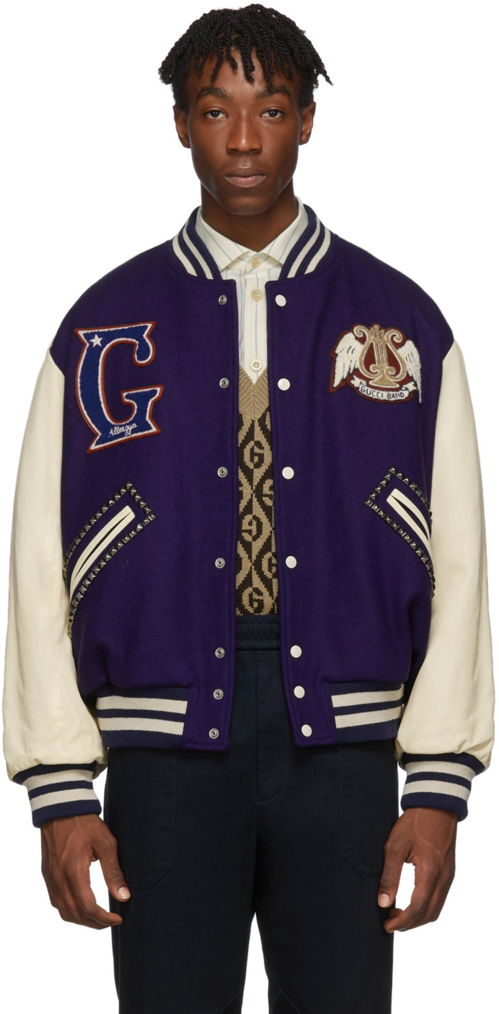 92dc07fdb Blue & Off-White 'Gucci Band' Varsity Jacket