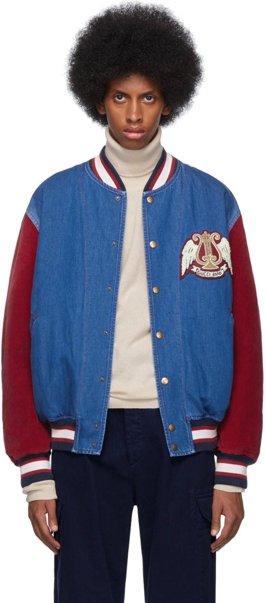 614ccbec6 Blue & Red Denim Bomber Jacket
