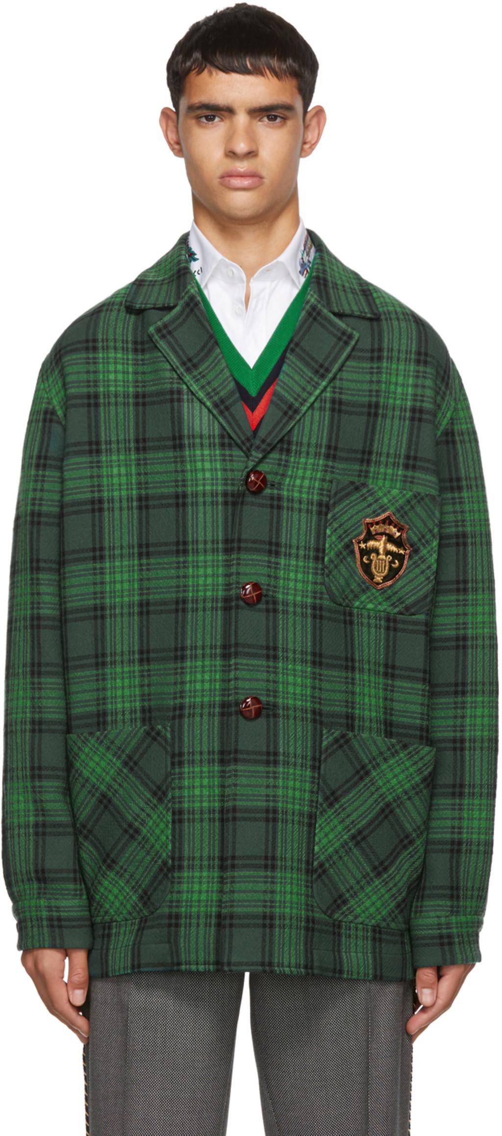 b242c5b9b Green Check Wool Crest Jacket