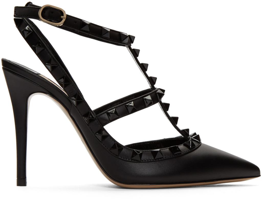 fba3ed1575163 Black Valentino Garavani Tonal Rockstud Heels