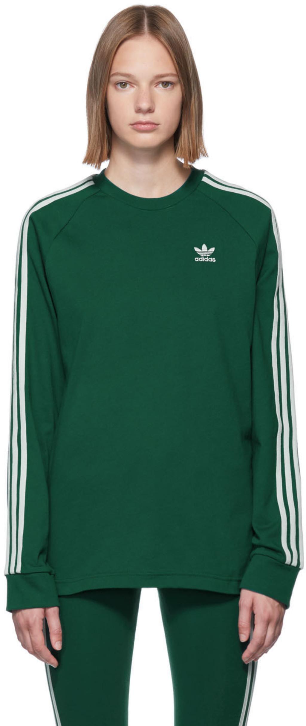 8bccaddd Green 3-Stripe Long Sleeve T-Shirt