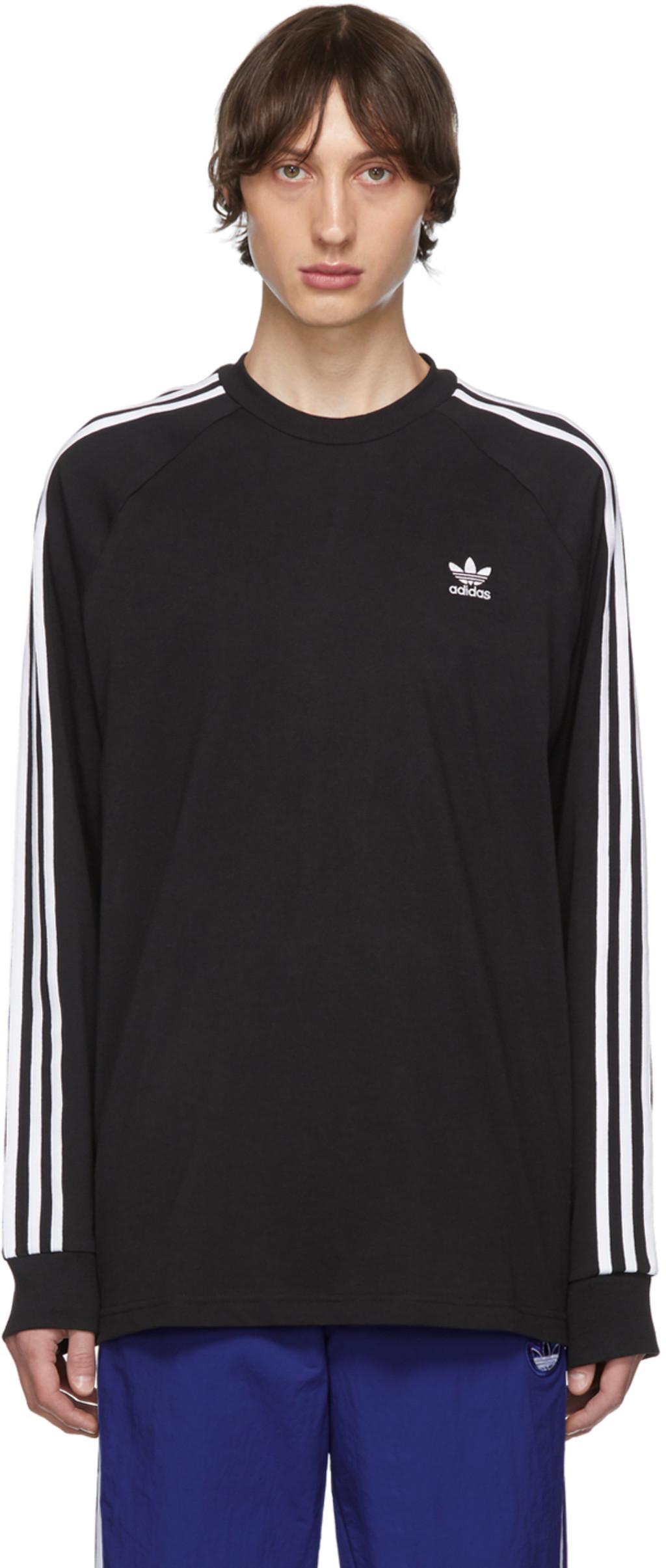23a7b9c733 Black 3-Stripes Long Sleeve T-Shirt