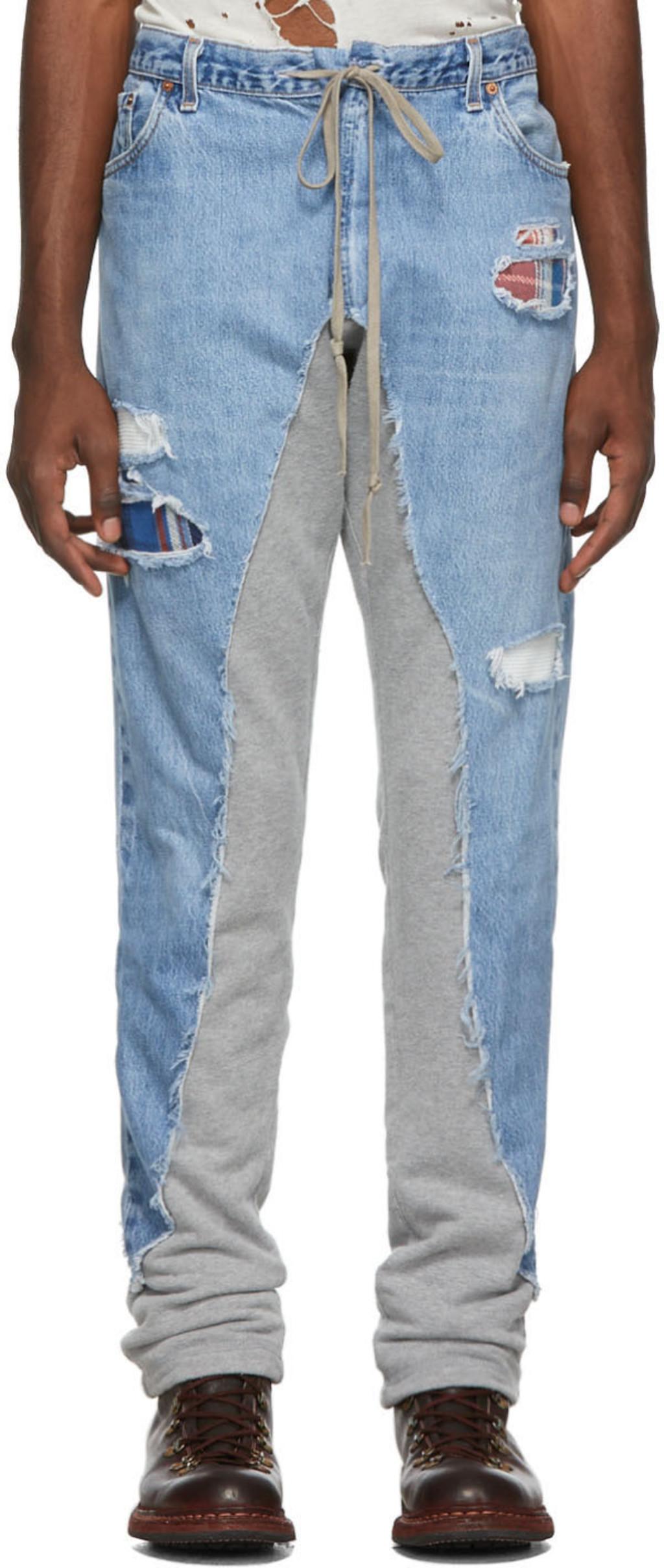 ed013c5b Blue & Grey 50/50 Denim/Terry Jeans
