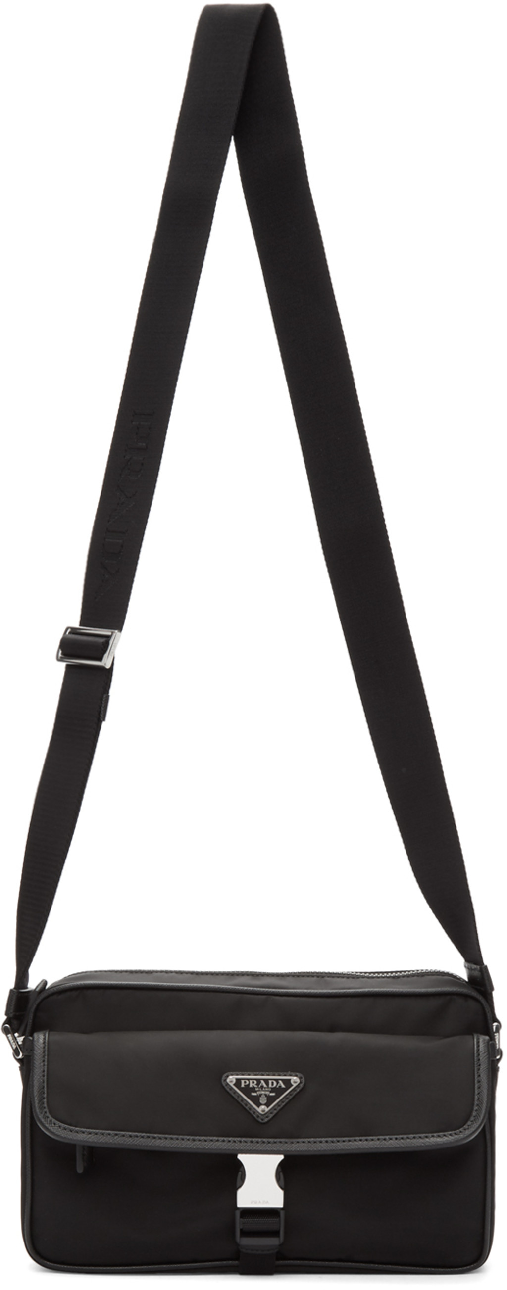 4154c7e803 Black Nylon Saffiano Messenger Bag