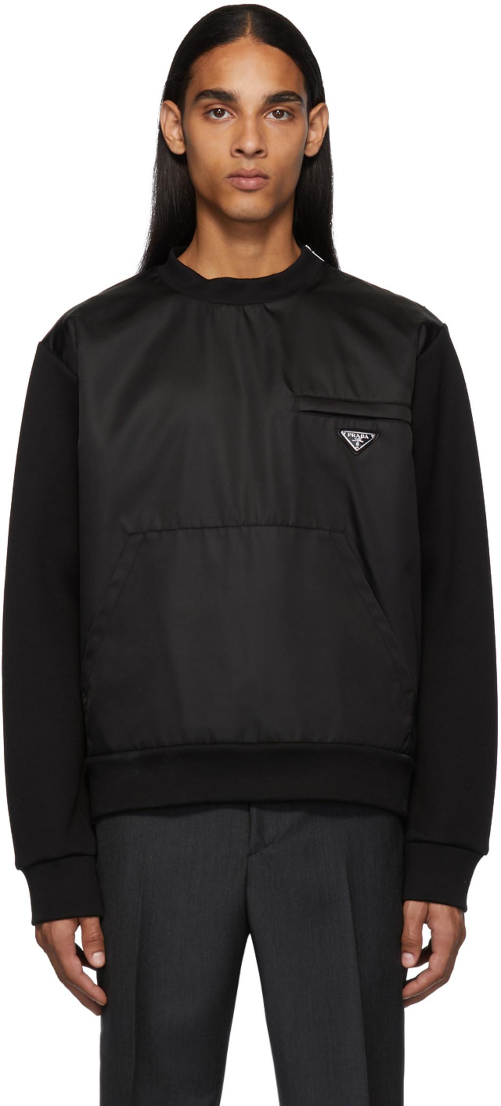 b3b4fc3526 Black Nylon Knit Sweatshirt