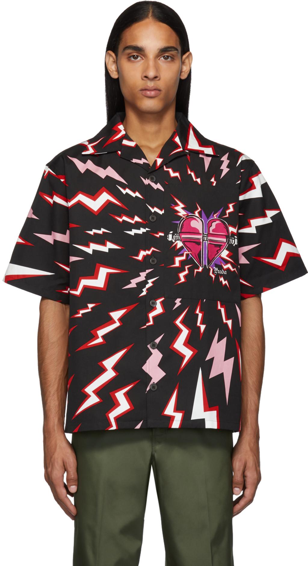 0b76a46842 Black & Red Thunder Print Shirt