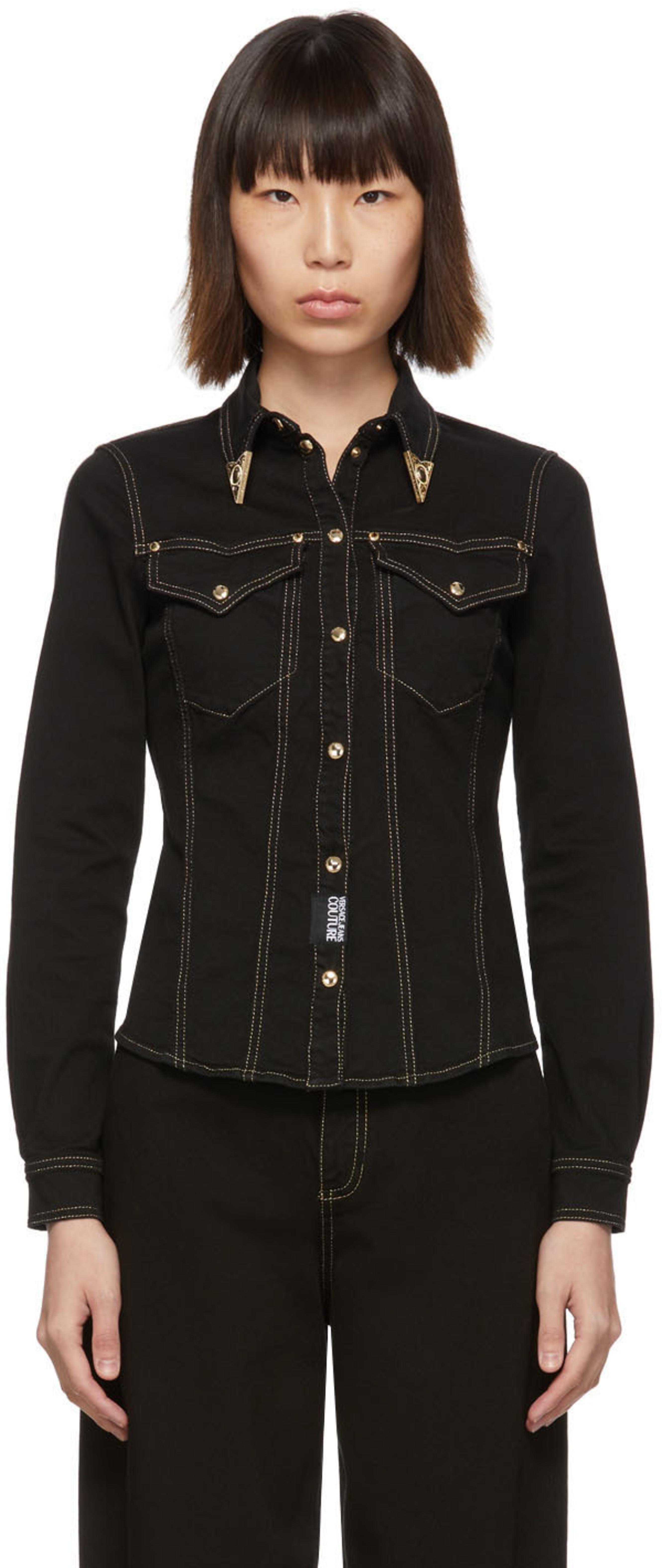 379a35cf57 Black Denim Fitted Shirt