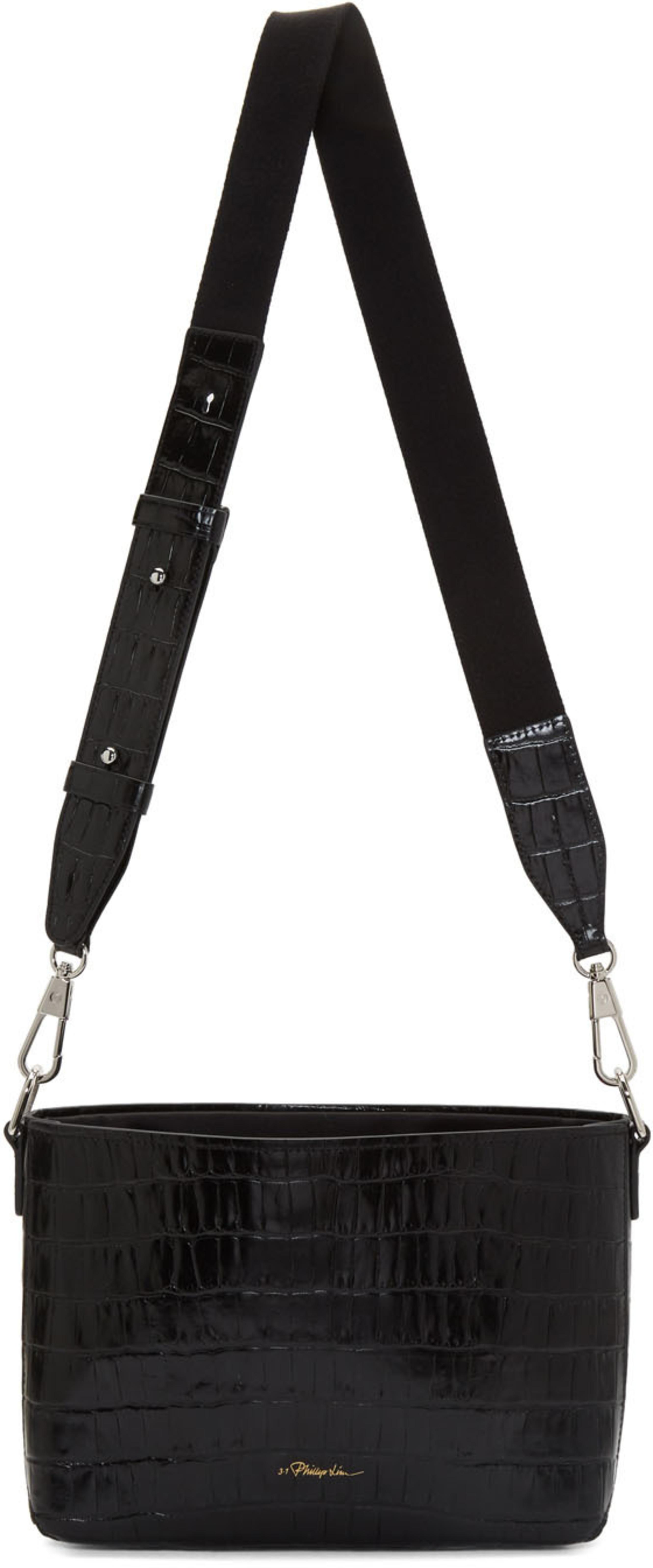 d7fe73d91f8f Black Croc Claire Crossbody Bag