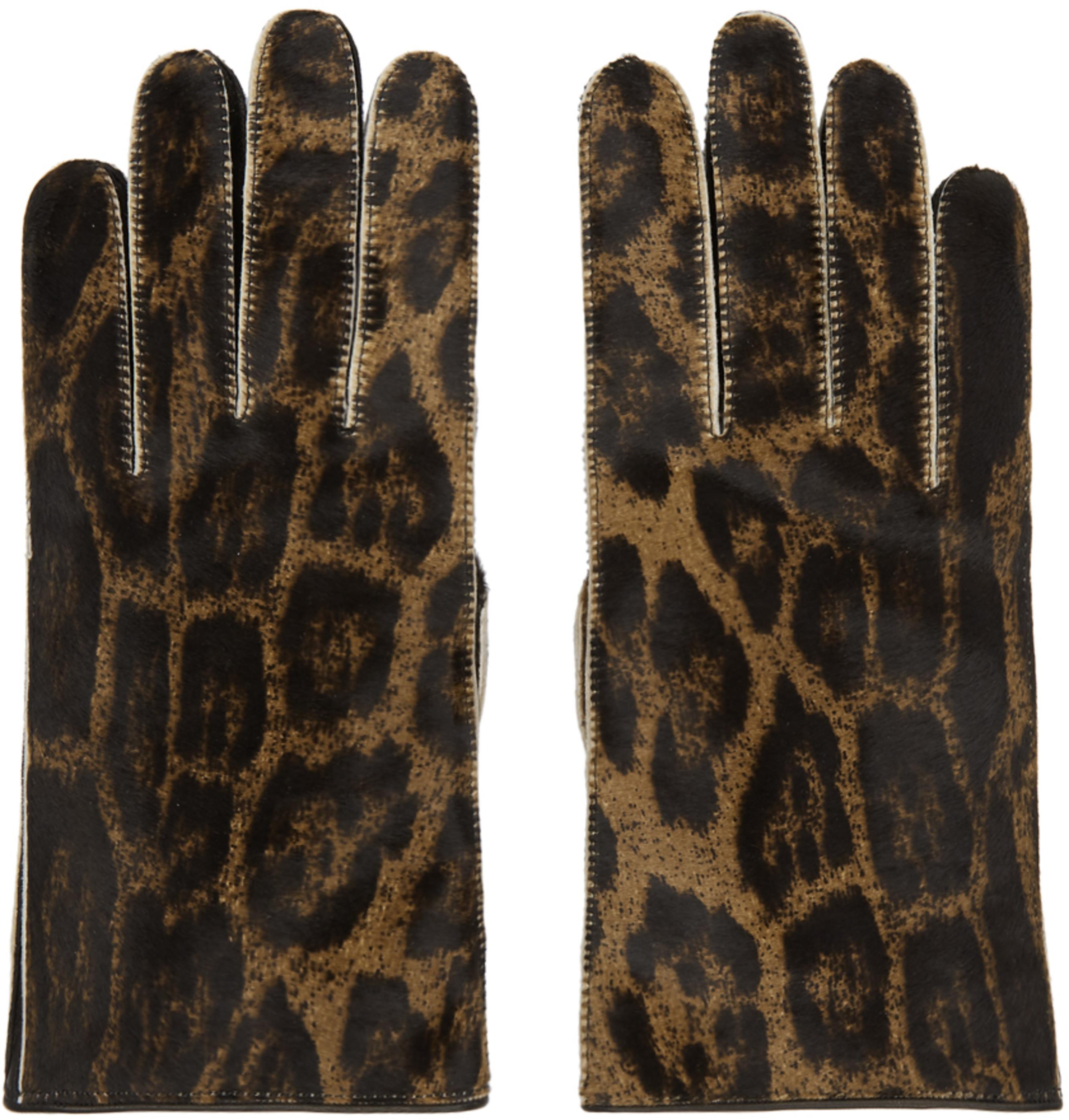 Brown Leather Animal Print Gloves
