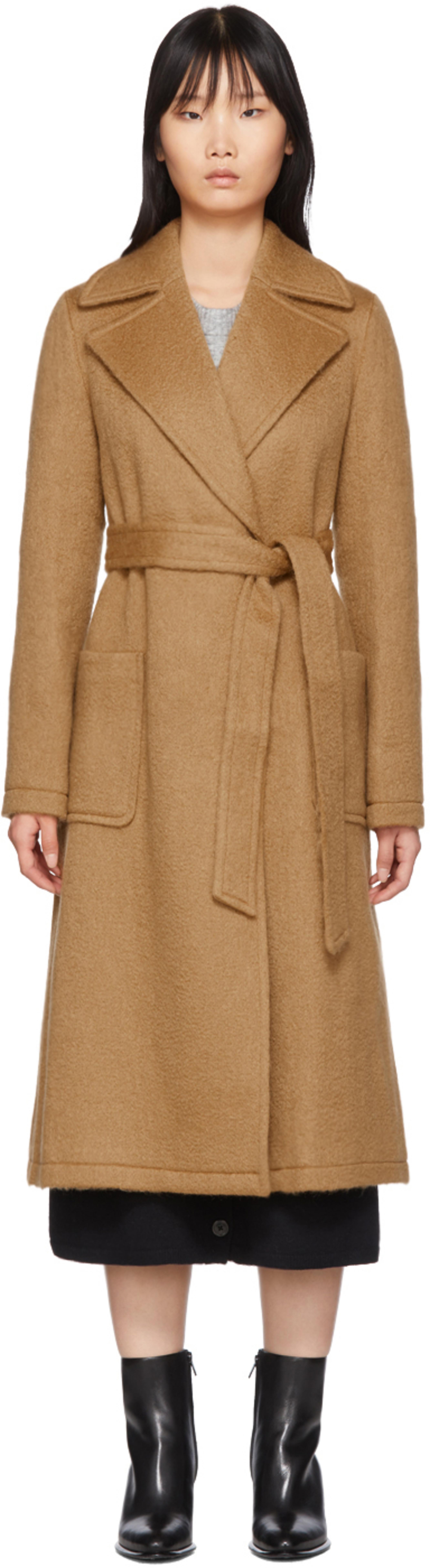 7fef243a Tan Mohair & Wool Woven Coat