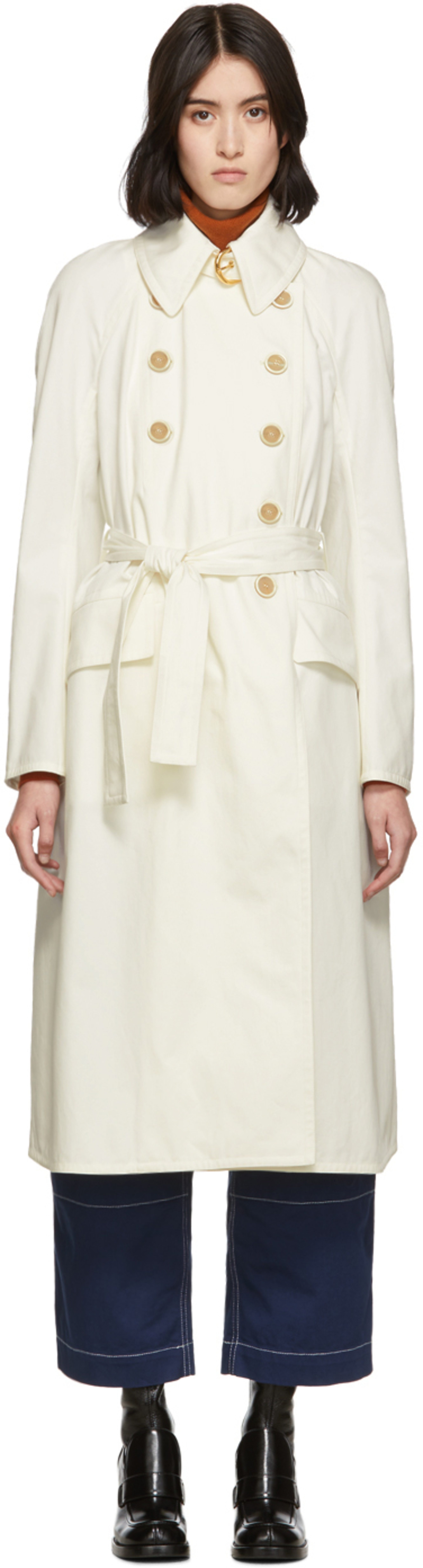 213df048d2 White Cotton Panama Trench Coat